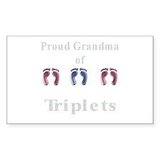 proud grandma of triplets Rectangle Decal