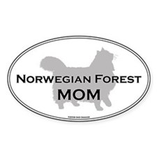 Norwegian Forest Mom Oval Decal