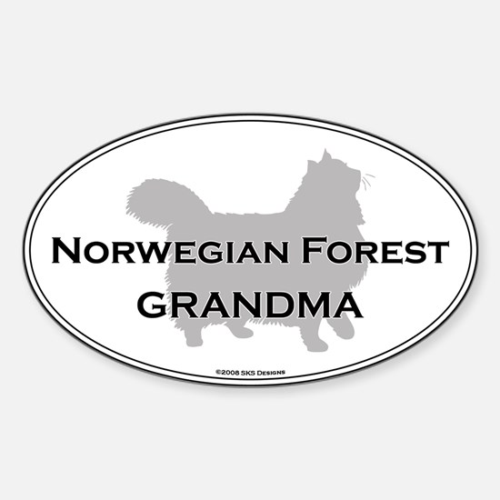 Norwegian Forest Grandma Oval Decal