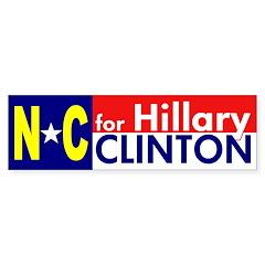 NC for Hillary Clinton bumper sticker