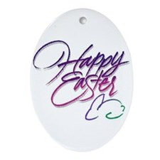 happy easter Oval Ornament