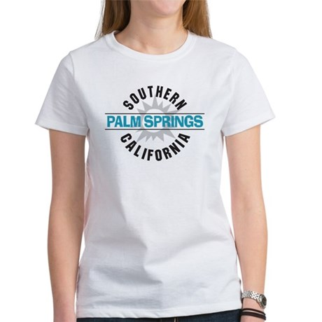 Palm springs california women 39 s classic white t shirt palm for T shirt city palm springs
