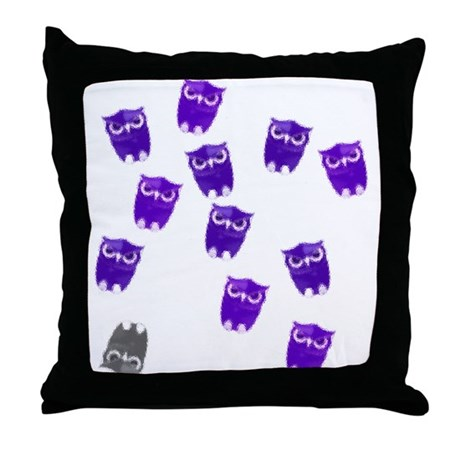 Owls in Purple Throw Pillow