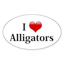 I Love Alligators Oval Decal