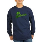 IRELAND with Shamrock Long Sleeve Dark T-Shirt