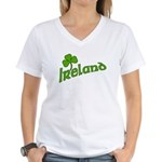 IRELAND with Shamrock Women's V-Neck T-Shirt