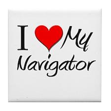 I Heart My Navigator Tile Coaster