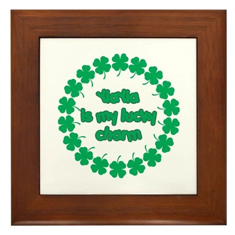 YiaYia is My Lucky Charm Framed Tile