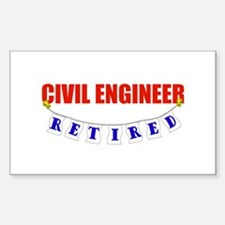 Retired Civil Engineer Rectangle Decal
