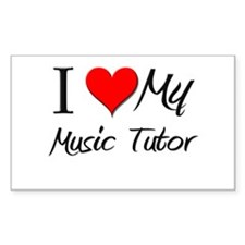 I Heart My Music Tutor Rectangle Decal