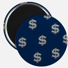 Dollar Sign Pattern Blue Magnet