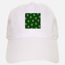 Dollar Sign Pattern Green Baseball Baseball Cap