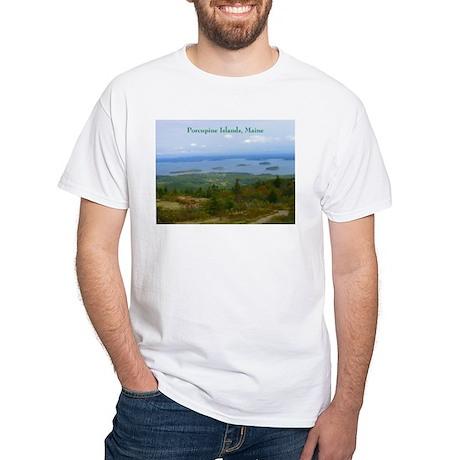 Porcupine Islands (caption) White T-Shirt