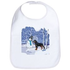 Rottweiler & Snowman Christmas Bib