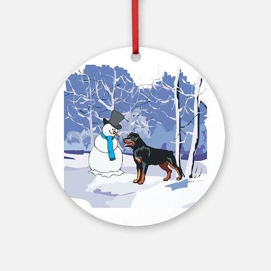 Rottweiler & Snowman Christmas Ornament (Round)