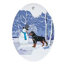 Rottweiler & Snowman Christmas Oval Ornament