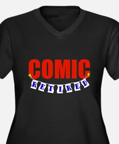 Retired Comic Women's Plus Size V-Neck Dark T-Shir