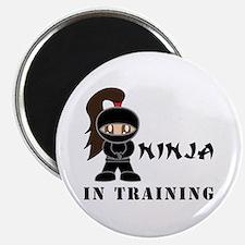 Brunette Ninja In Training Magnet