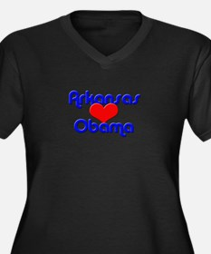 Arkansas For Obama Women's Plus Size V-Neck Dark T
