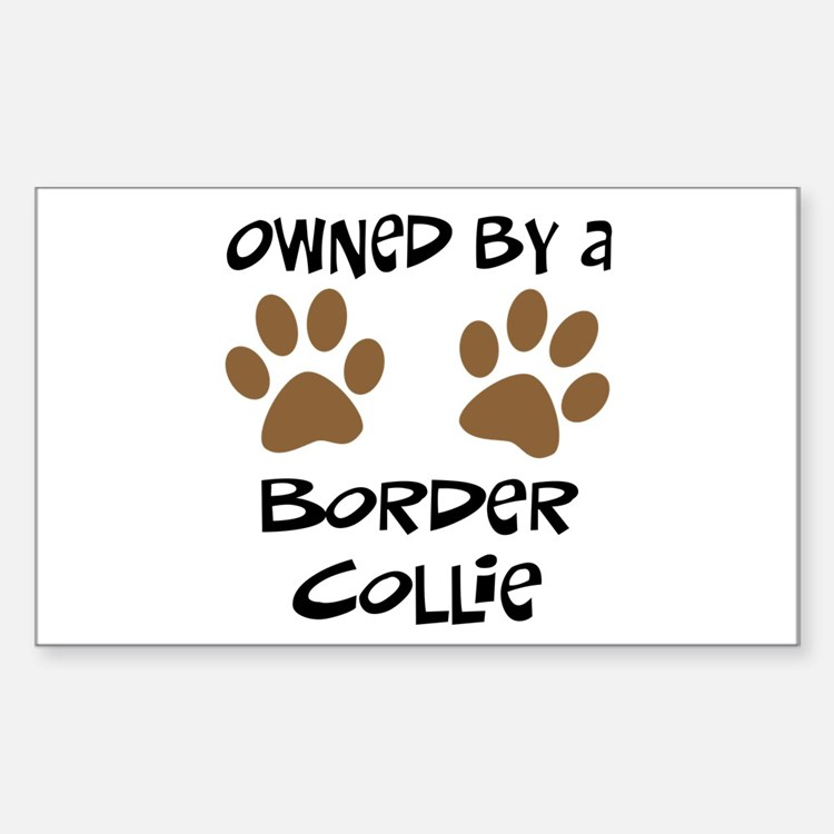 Owned By A Border Collie Rectangle Decal