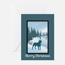 Scenic Winter Rottweiler Christmas Greeting Cards
