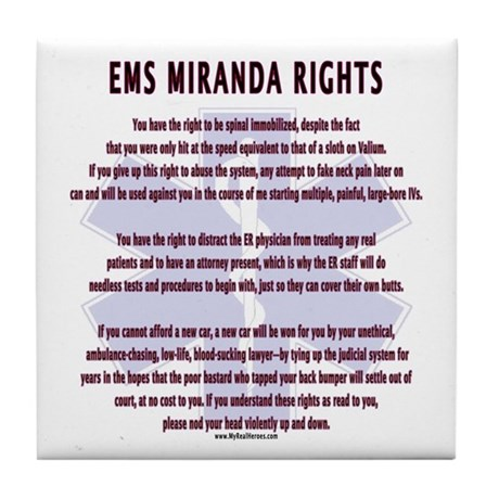 EMS Miranda Rights Gifts Tile Coaster