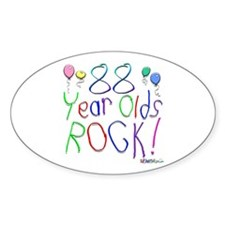 88 Year Olds Rock ! Oval Decal