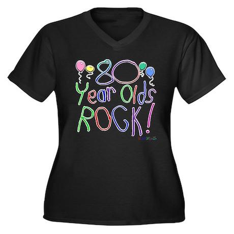80 Year Olds Rock ! Women's Plus Size V-Neck Dark