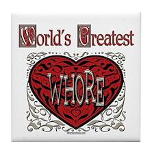 World's Best Whore Tile Coaster