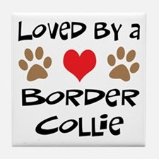 Loved By A Border Collie Tile Coaster