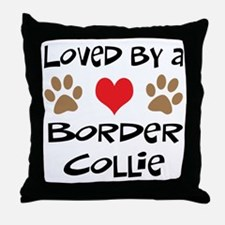 Loved By A Border Collie Throw Pillow