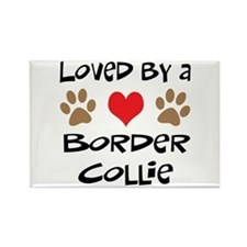 Loved By A Border Collie Rectangle Magnet