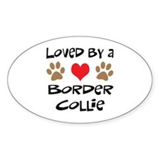 Loved By A Border Collie Oval Decal