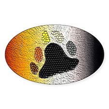 BEAR PRIDE FLAG/BRUSH LOOK Oval Decal