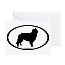 Border Collie Oval Greeting Cards (Pk of 10)