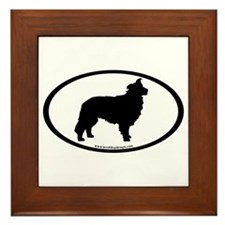 Border Collie Oval Framed Tile