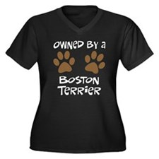 Owned By A Boston Terrier Women's Plus Size V-Neck