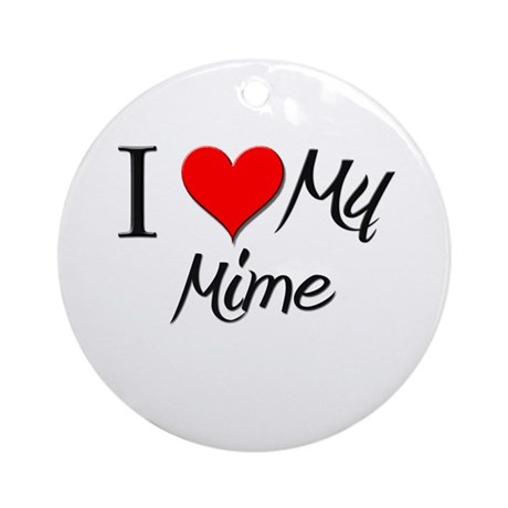 I Heart My Mime Ornament (Round)