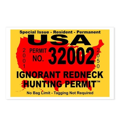 Ignorant Redneck Hunting Perm Postcards (Package o
