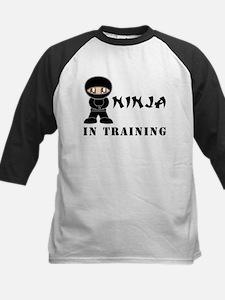 Brown Eyes Ninja In Training Kids Baseball Jersey