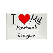I Heart My Metalwork Designer Rectangle Magnet