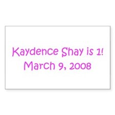 Kaydence Shay is 1! March Sticker (Rectangular
