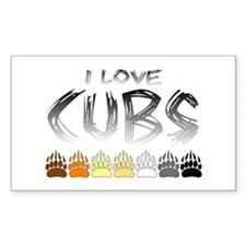 I Love Cubs Rectangle Decal