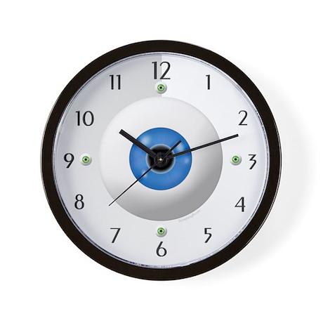 Funny Blue Green Eyeball Home Office Wall Clock