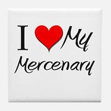 I Heart My Mercenary Tile Coaster