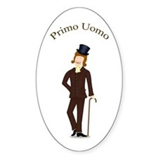 Brown Hair Primo Uomo in Dark Suit Oval Decal