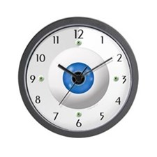 Funny Blue Green Eyeball Home Office Wall Clock
