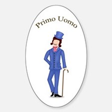 Brunette Primo Uomo in Blue Suit Oval Decal