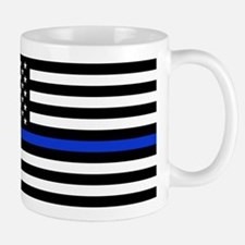 Thin Blue Line American Flag Mugs