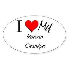 I Love My Korean Grandpa Oval Decal